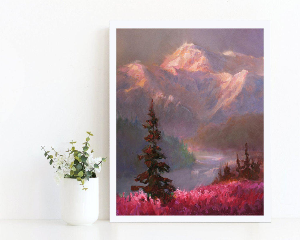 Mountain landscape wall art print of Alaskan painting by nature artist Karen Whitworth