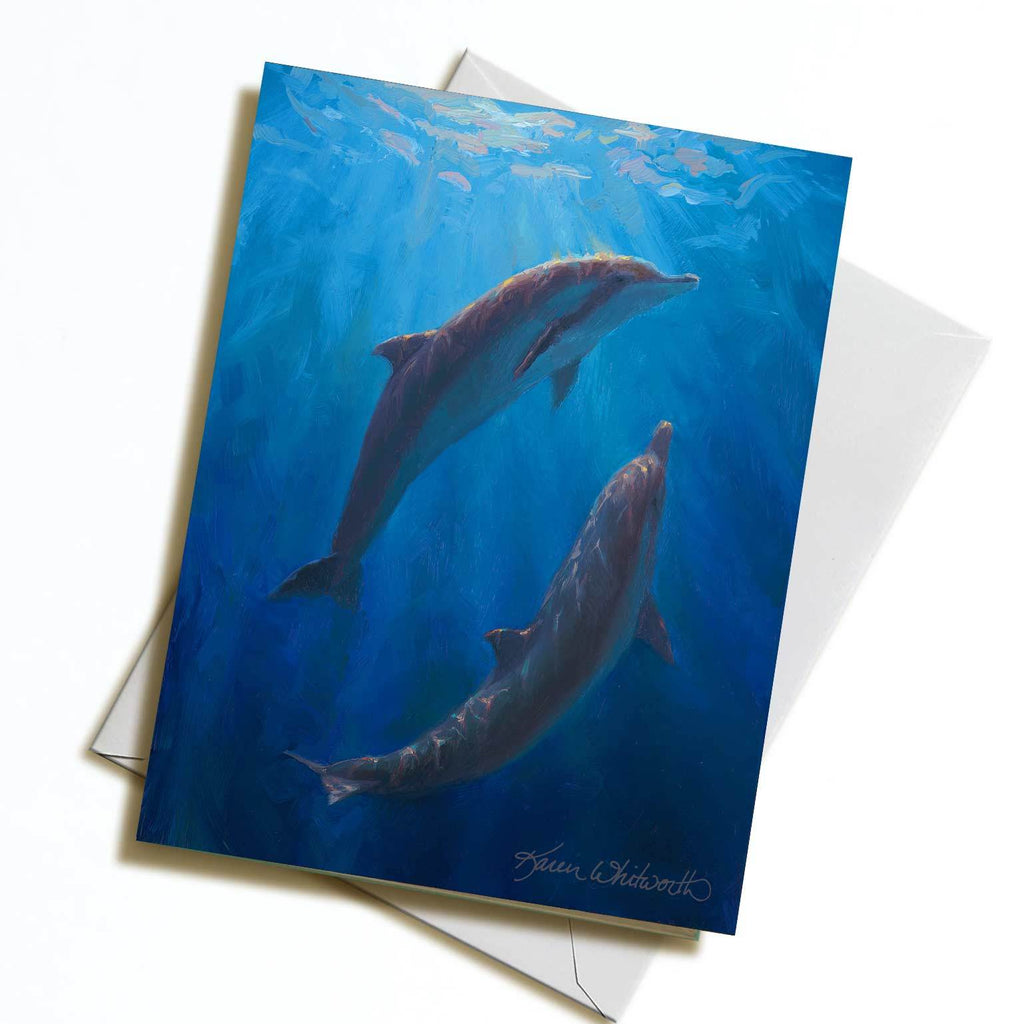 Dolphin Dance greeting card with deep blue ocean colors by Alaska artist Karen Whitworth