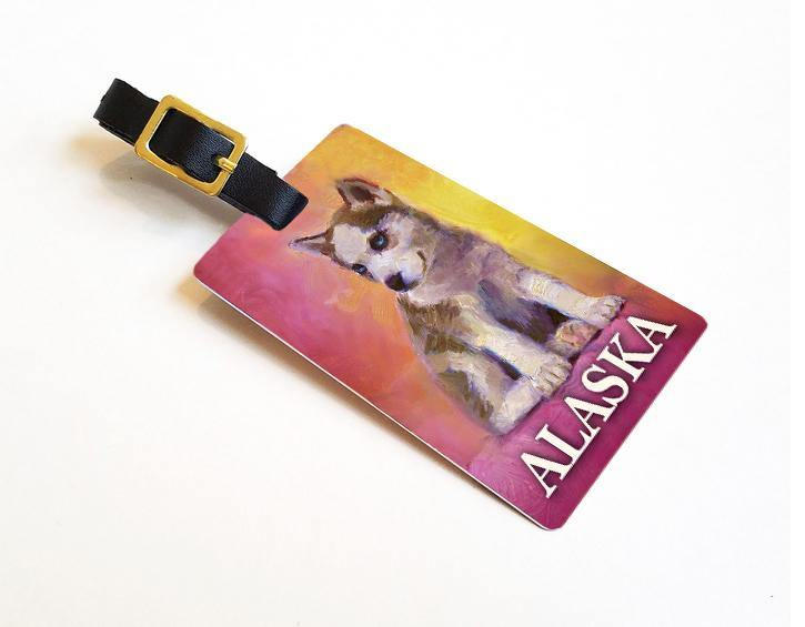Double Trouble Alaska Luggage Tags Featuring a Husky Puppy Sled Dog