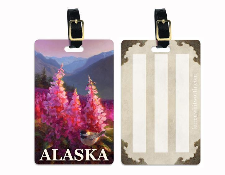 Eagle River Summer Alaska Luggage Tags Featuring a Black Capped Chickadee With Fireweed Wildflowers