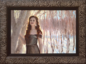 Framed Portrait Painting of Woman in a snowy winter forest. Figure in the Landscape oil painting by Karen Whitworth
