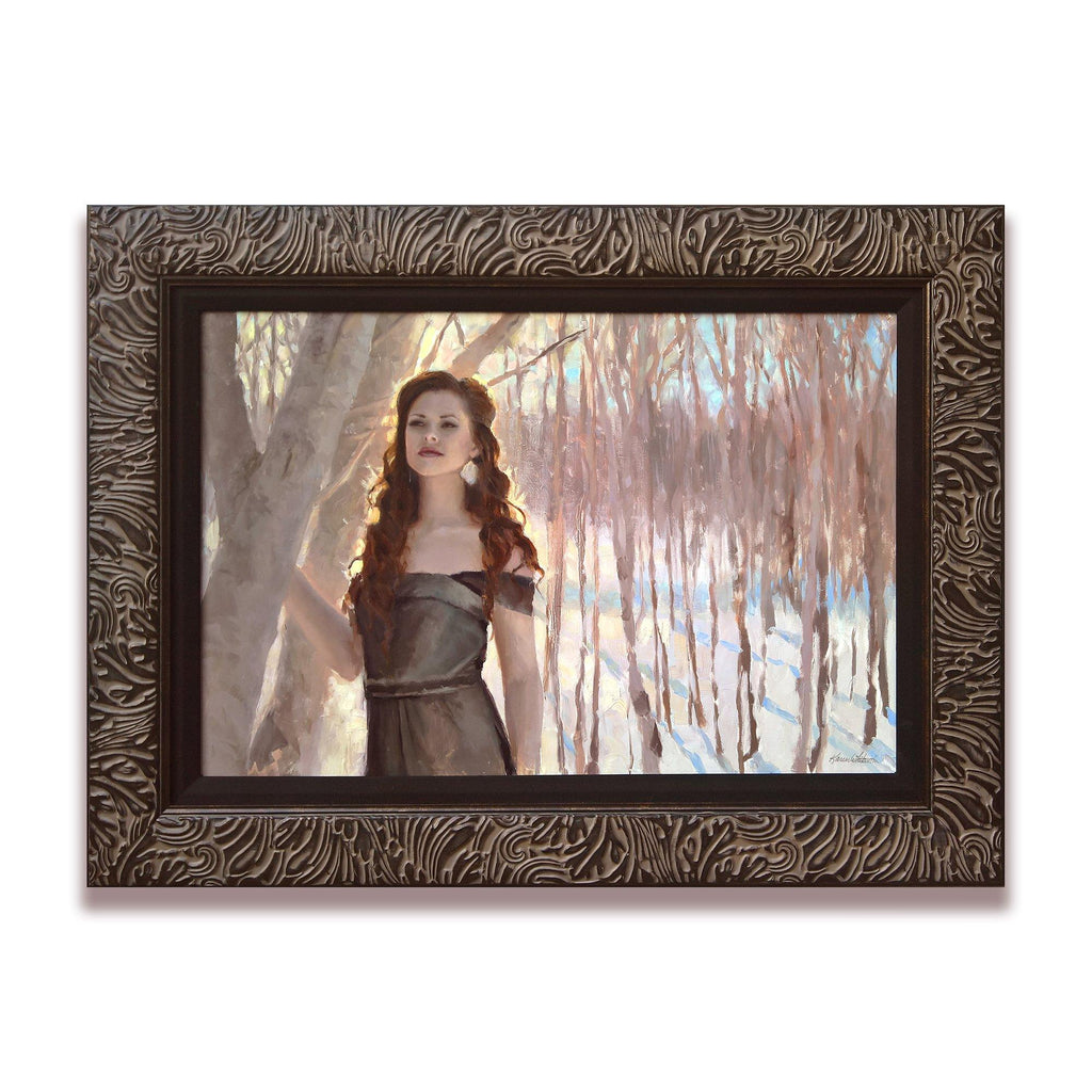 Framed Portrait Painting of Woman in a snowy winter forest. Figure in the Landscape