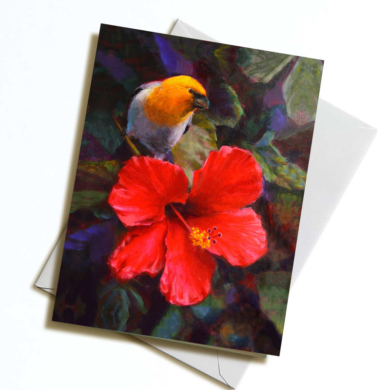 An envelope and card featuring art of a tropical Hawaiian Hibiscus flower and an endemic Palila bird on white background