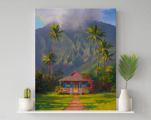 Hanalei art of a Tropical island landscape painting with Hawaii palm trees and mountain cottage sitting on shelf next to white vases