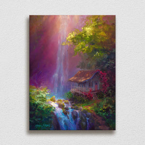 Waterfall painting on canvas by Hawaii landscape artist Karen Whitworth