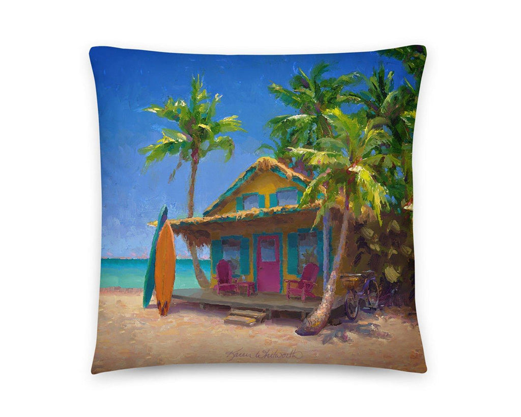 Beach House Throw Pillow Tropical hawaiian home decor