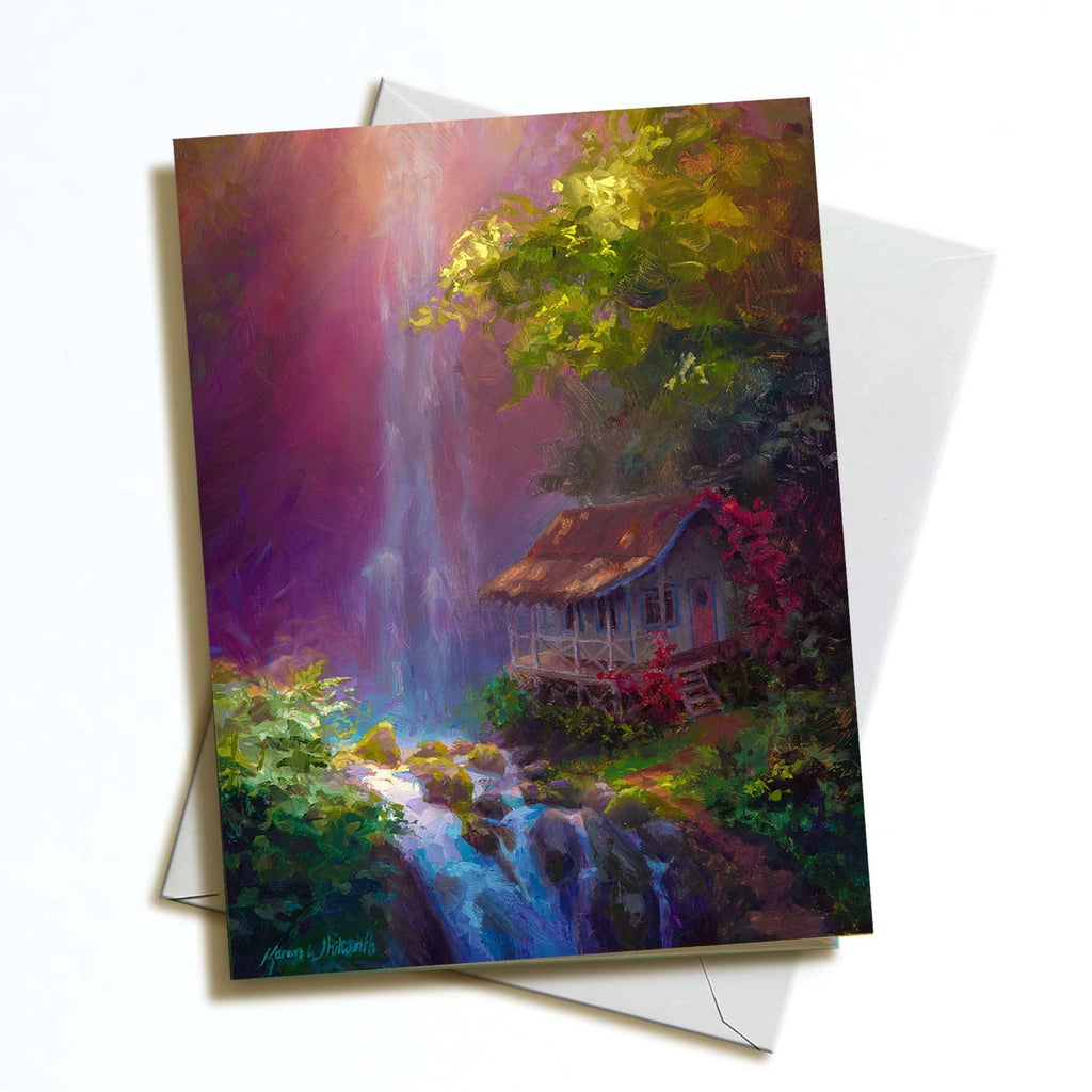 Hawaii greeting card with Kauai waterfall jungle cottage