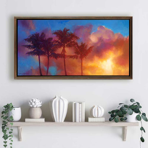 Hawaiian palm tree sunrise painting on canvas by tropical landscape painter Karen Whitworth