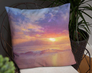 Tropical Hawaiian Home Decor Cozy Beach Sunset Landscape Throw Pillow