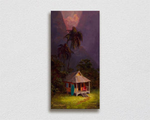 Hawaiian sunset painting tropical art on canvas by Hawaii artist Karen Whitworth