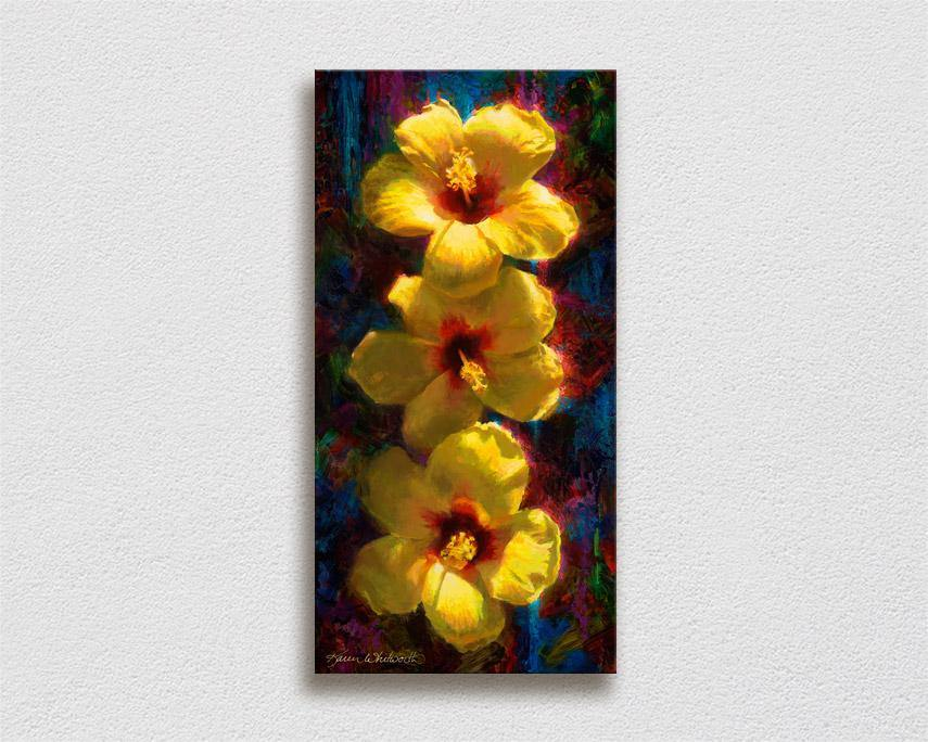 Hawaiian tropical flowers painting of yellow hibiscus on canvas by Hawaii artist Karen Whitworth