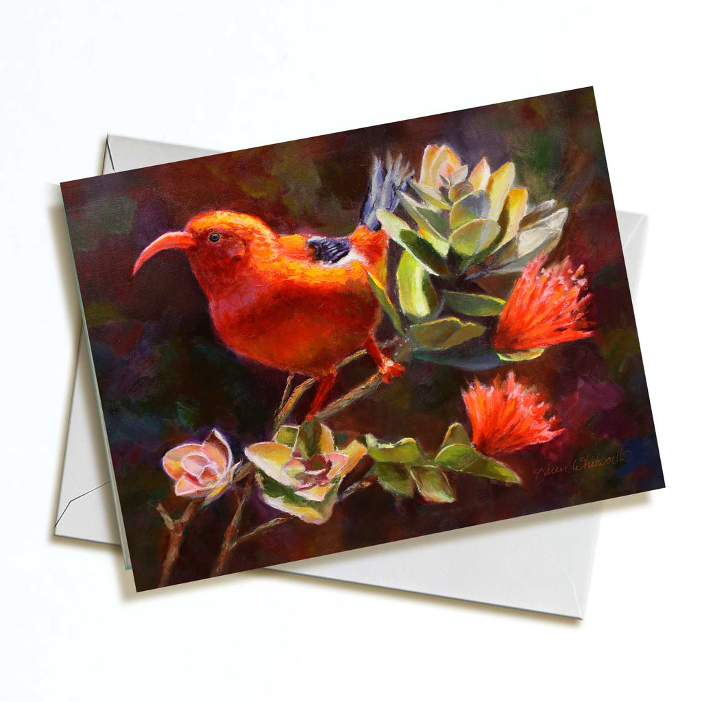 Hawaii note card featuring painting of Iiwi Bird and Ohia Lehua Flower against a white background