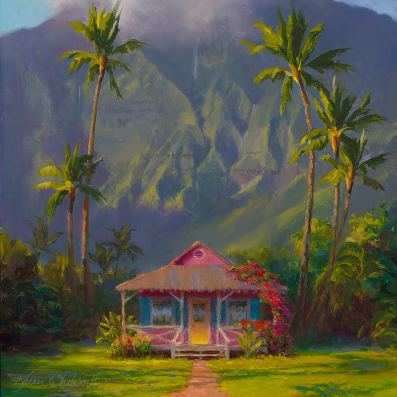 Kauai painting of Hanalei cottage and palm trees. Hawaii landscape canvas by tropical artist Karen Whitworth