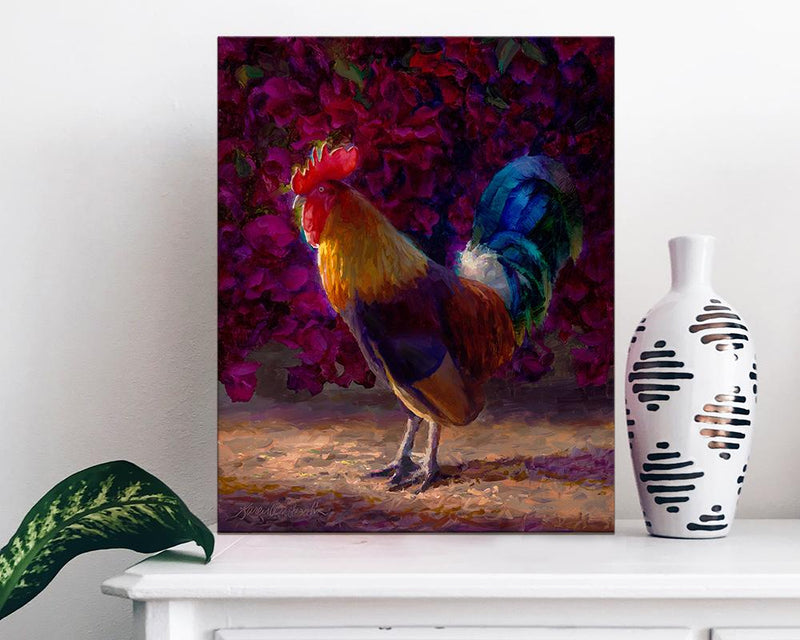 Tropical Chicken Painting of Kauai Rooster and Bougainvillea Flower Bush Wall Art by Gallery Artist Karen Whitworth sitting on white dresser with vase.