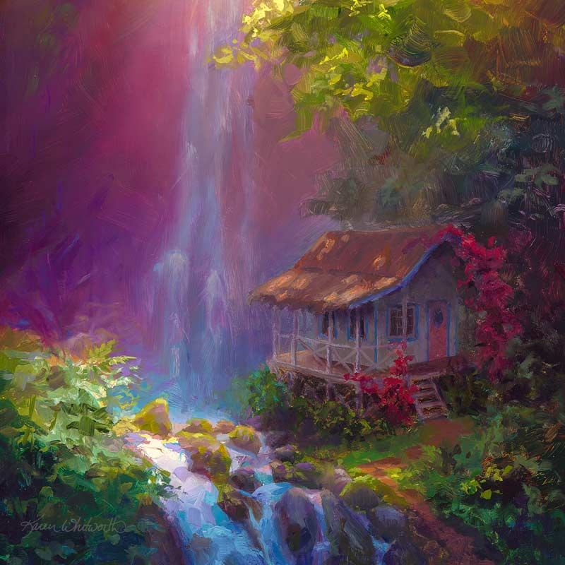 Healing Retreat - Canvas Print of Waterfall Painting With Hawaiian Cottage