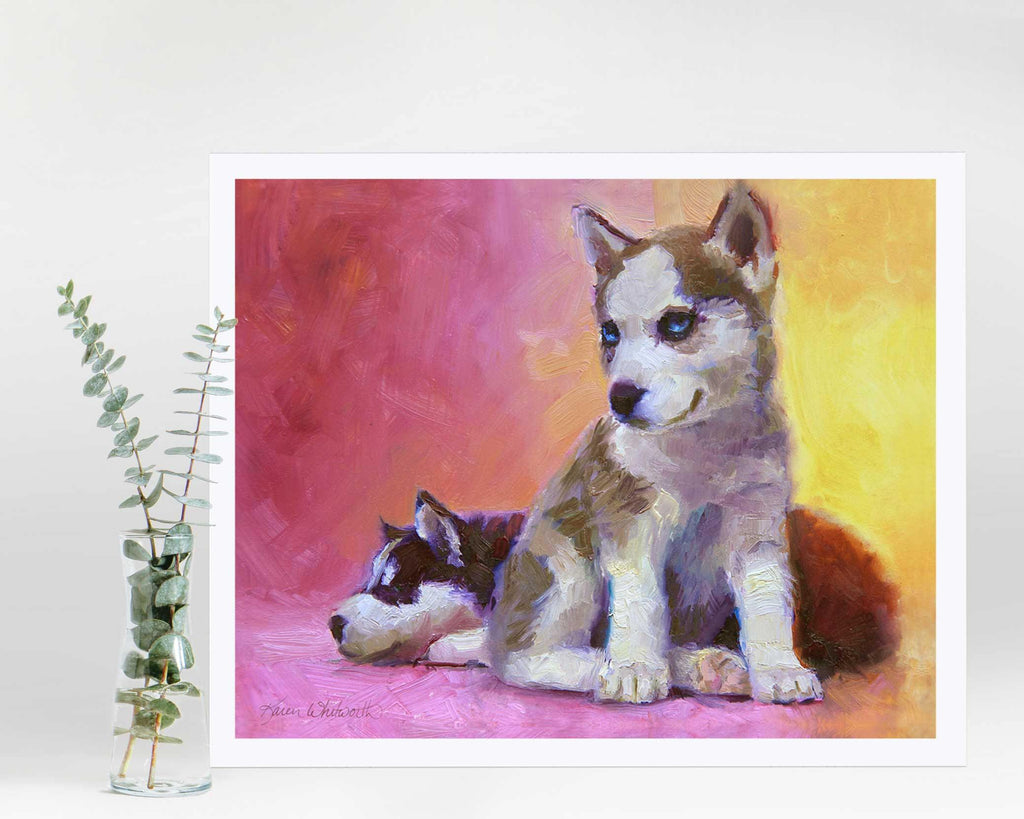 Painting of sled dog husky puppies in a colorful wall art print by Alaska artist Karen Whitworth
