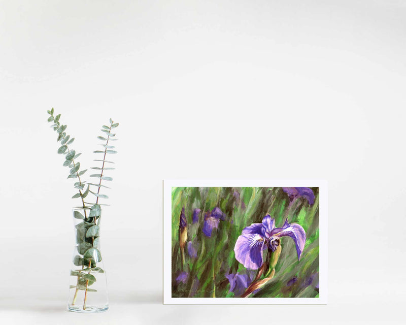 "5x7"" Paper wall art print of Alaskan wild iris flower by artist Karen Whitworth"