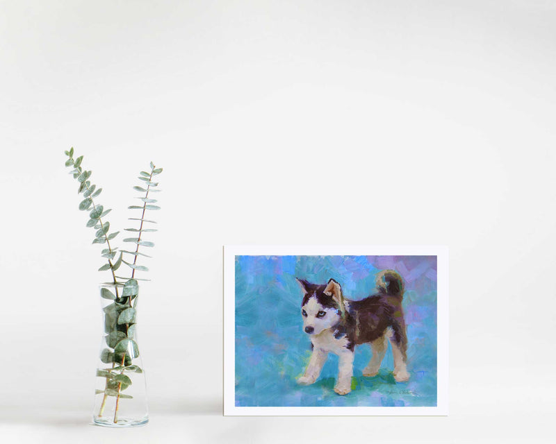 Siberian Husky Art Print of Cute Sled Dog Puppy