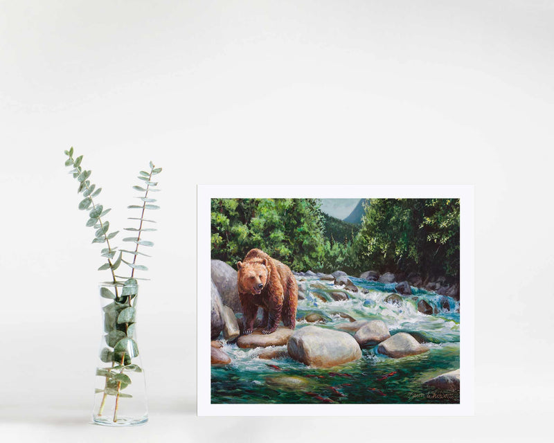 Brown bear wall art print by Alaska wildlife artist Karen Whitworth