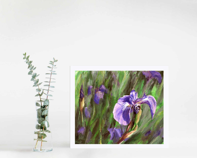8x10 Paper wall art print of Alaskan wild iris flower by artist Karen Whitworth
