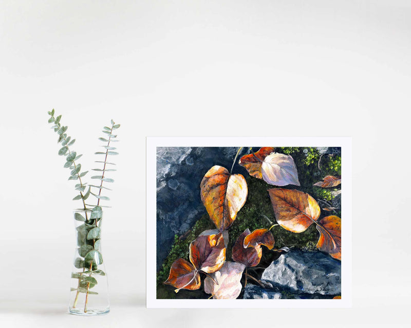 Wall art print of autumn leaves painting by nature artist Karen Whitworth
