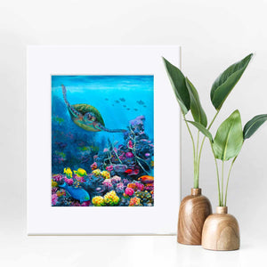 Matted 8x10 Green sea turtle wall art print with Hawaiian honu by ocean artist Karen Whitworth