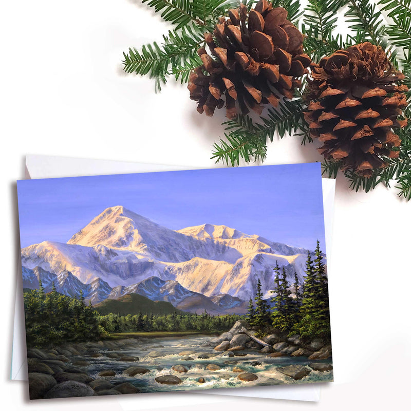 Majestic Alaska Denali Mountain landscape greeting card by artist Karen Whitworth.