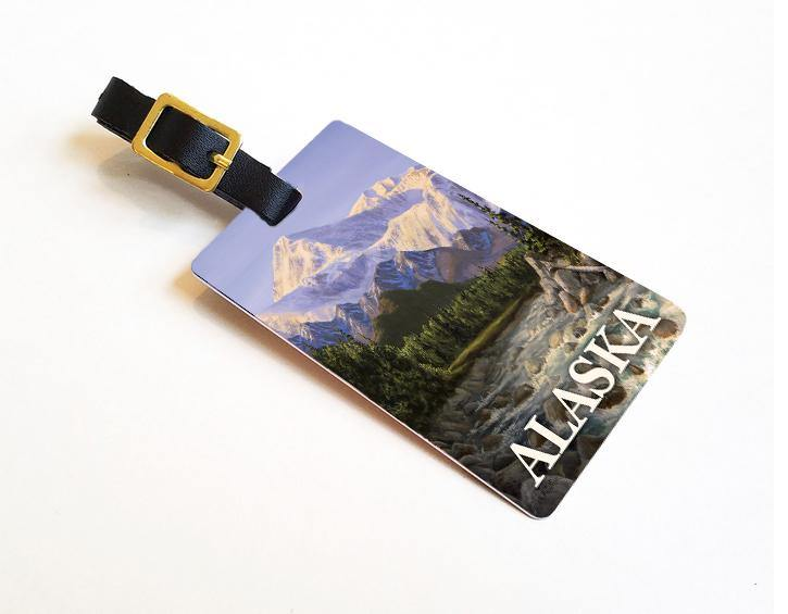 Majestic Denali- Alaska Luggage Tags Featuring The Denali Mountains and A River In The Valley