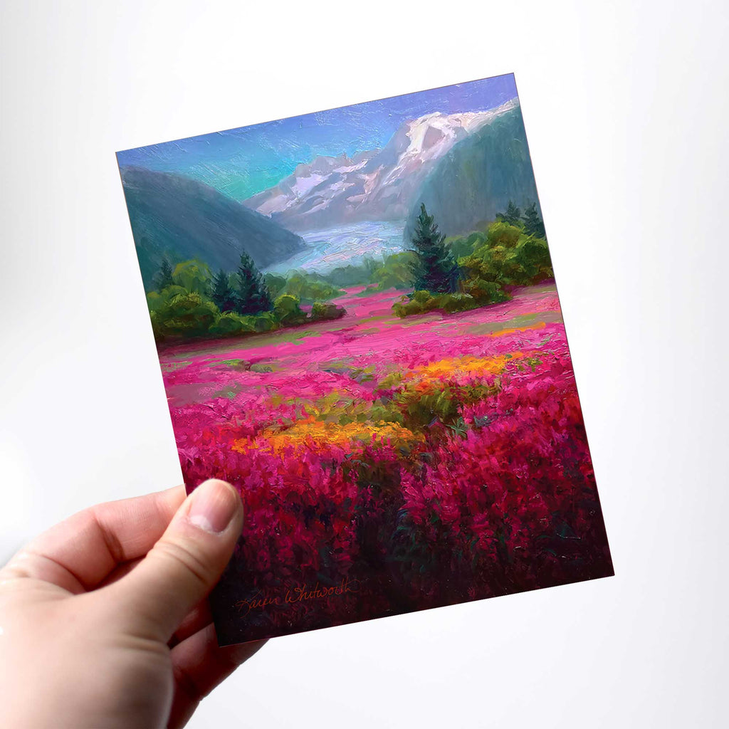 Mendenhall Glacier greeting card with Alaska Mountain by artist Karen Whitworth