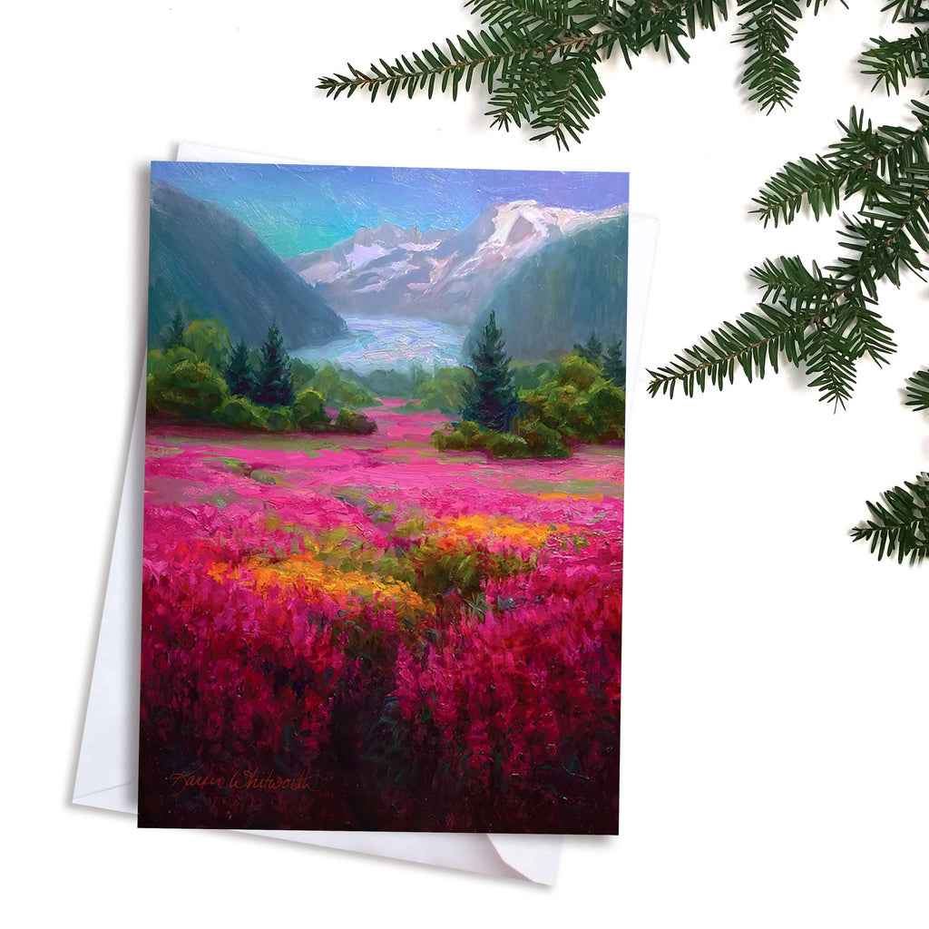 Mendenhall Glacier Alaska Mountain landscape greeting card by artist Karen Whitworth.