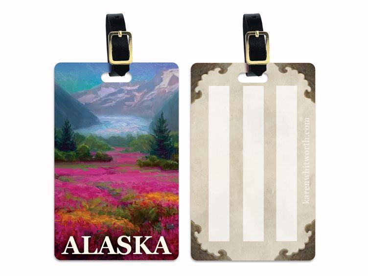 Mendenhall Glacier - Alaska Luggage Tags Featuring a The Majestic Mendenhall Glaciers With a Valley Filled with Wildflowers