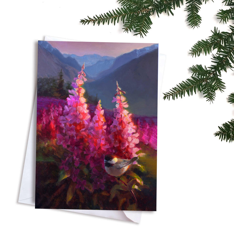 Mountain landscape with Chickadees and wildflowers greeting card by Alaska artist Karen Whitworth