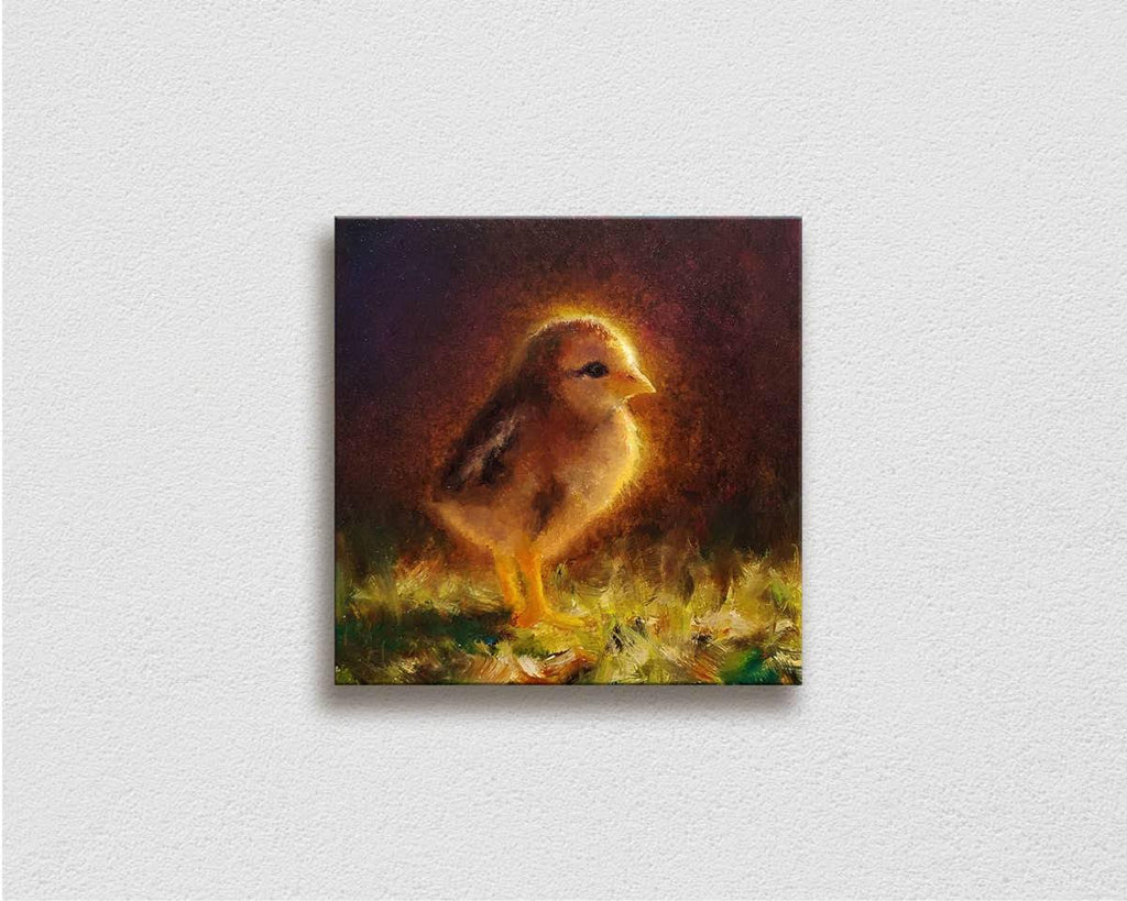 Painting of Baby Chick Kauai Chickens small wall art on white wall by Hawaii artist Karen Whitworth