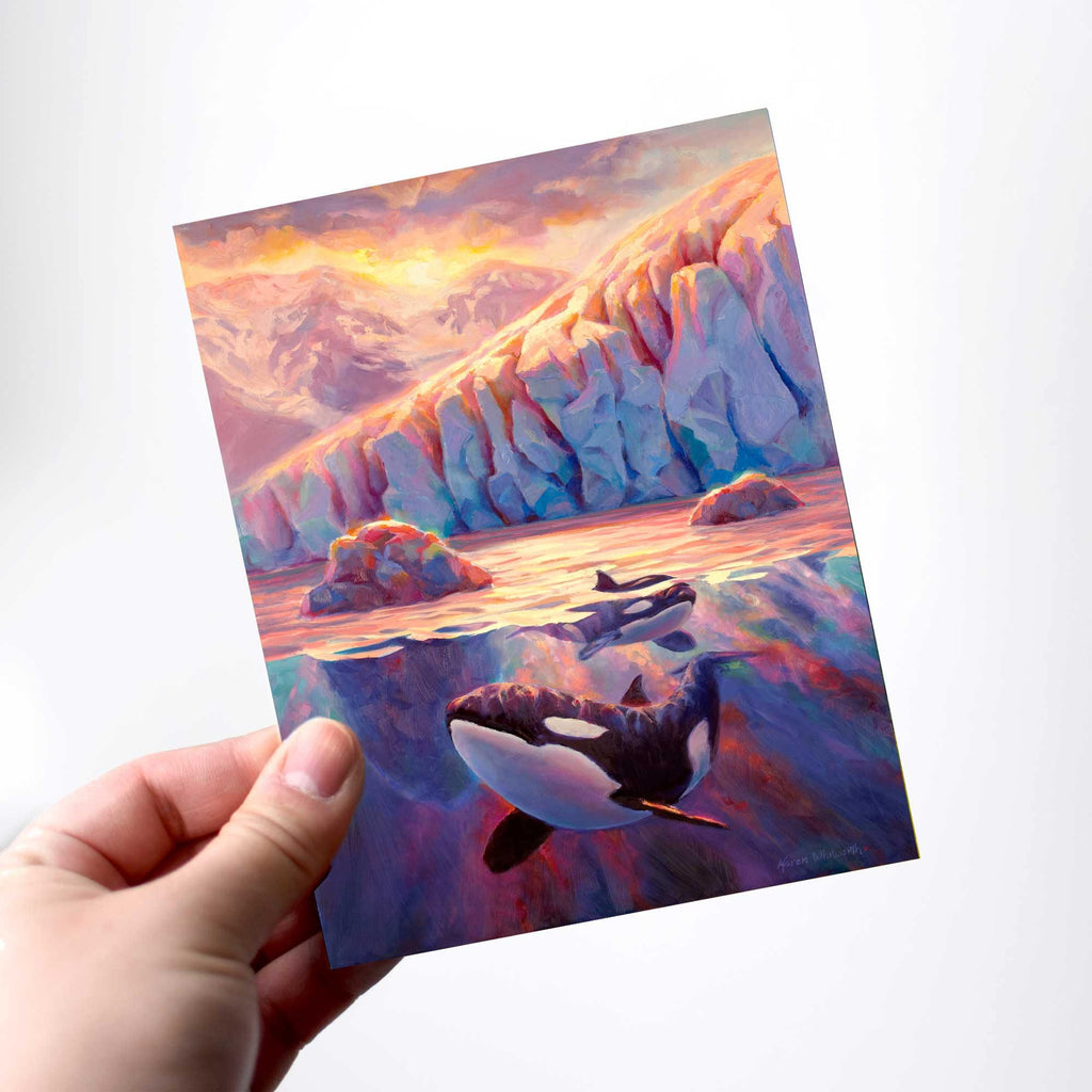 Orca Killer Whale greeting card with Glacier Fjord at Sunrise by Alaska artist Karen Whitworth