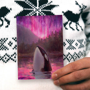 Orca Killer Whale greeting card with pink Northern Lights by Alaska artist Karen Whitworth