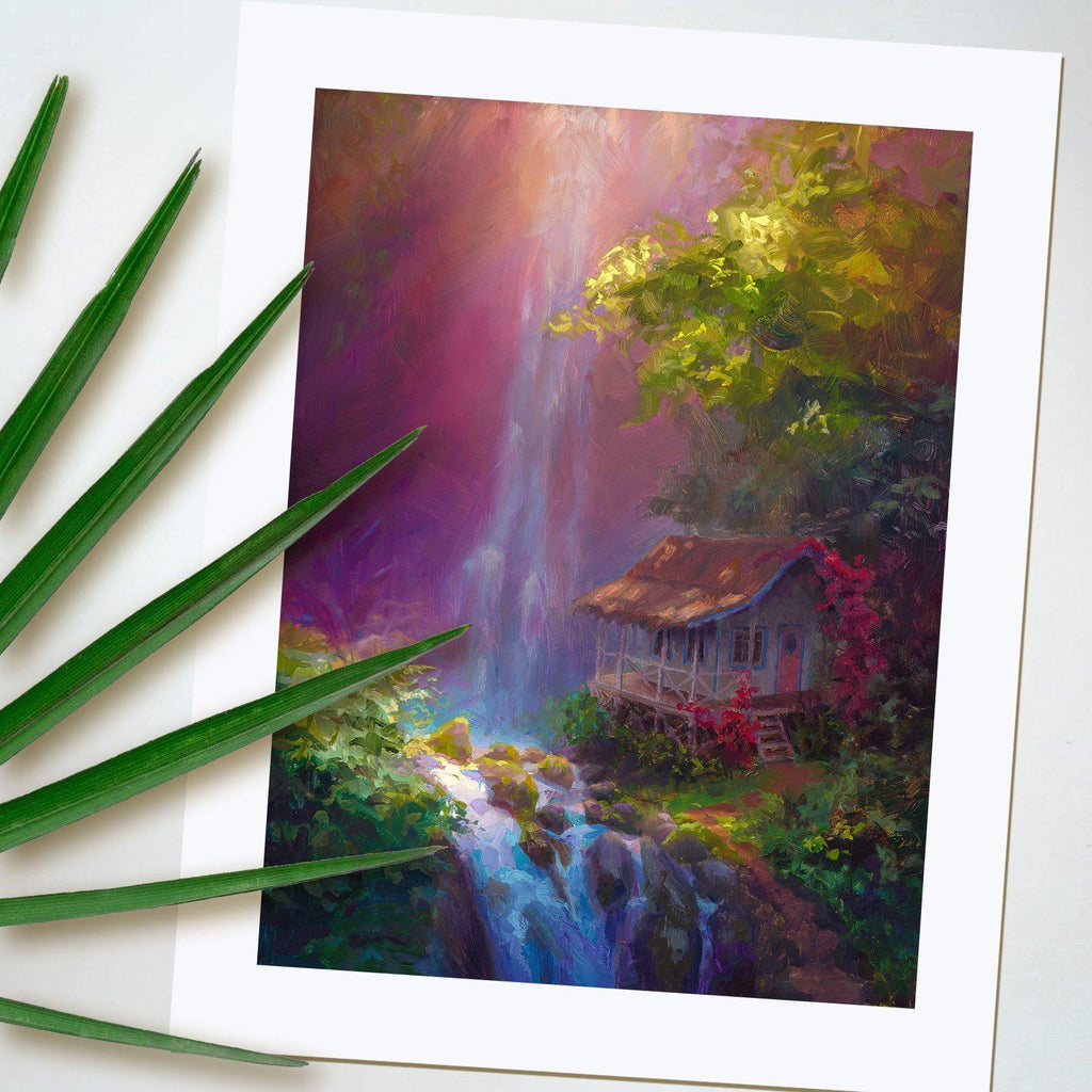Tropical Waterfall wall art print by Hawaii landscape artist Karen Whitworth