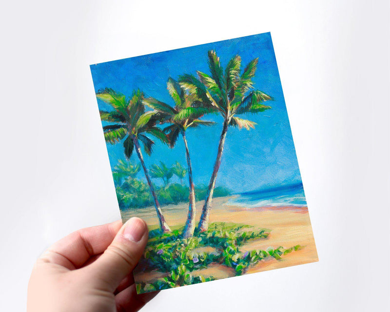Paradise Palm Trees - Tropical Beach Blank Greeting Card Stationery