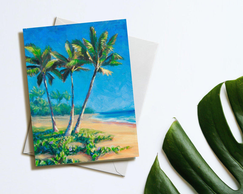 Paradise Palms - Tropical Beach Blank Note Card Stationery