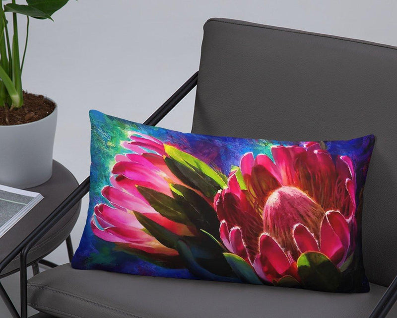 Vibrant Two-Sided Lumbar Throw Pillow Blue Lotus and Protea Flower Tropical Decor