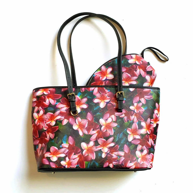 Plumeria Paradise Zippered Carry All Travel Tote and Cosmetic Bag