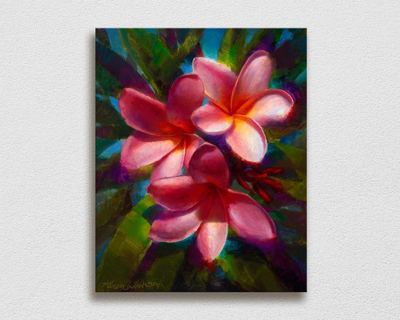 Hawaiian flower wall art canvas of plumeria flowers on white wall