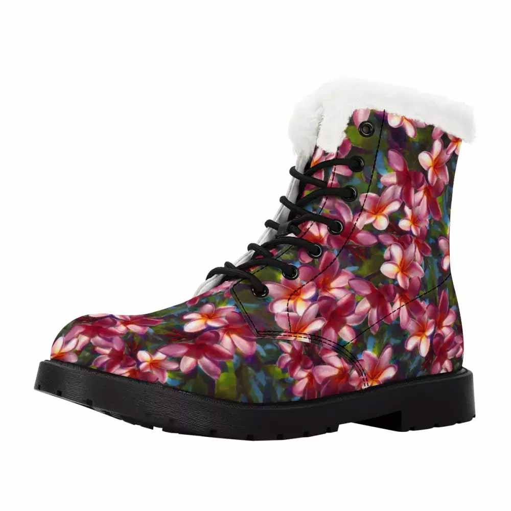 Fur Lined Women's Plumeria Flower Combat Boots