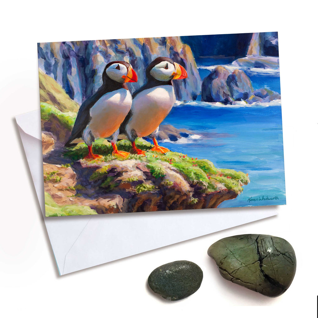 Puffins on the costal shores greeting card by Alaska artist Karen Whitworth