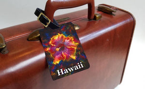Radiance - Hawaiian Luggage Tags Featuring a Rainbow Hibiscus