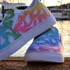 Rainbow Dino Print Women's Slip-On Canvas Sneaker