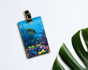 Secret Sanctuary - Hawaiian Luggage Tags Featuring a Underwater Coral Reef and Sea Turtle