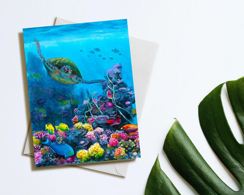 Secret Sanctuary - Green Sea Turtle Blank Note Cards With Underwater Reef - Hawaiian Themed Stationery