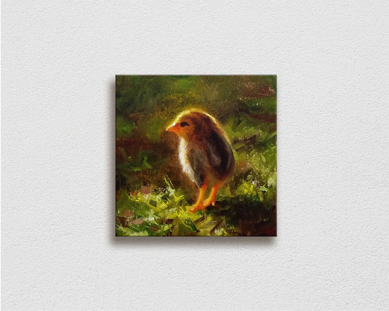 Canvas Painting of a  baby Kauai Chicken on a white wall, by Hawaii Gallery Artist Karen Whitworth