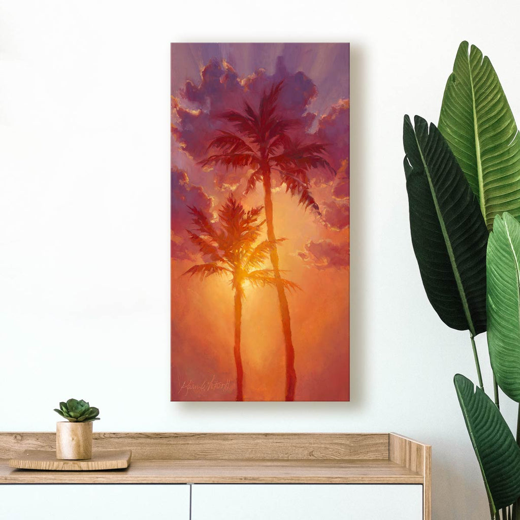 Palm tree art on canvas with colorful sky sunset and clouds