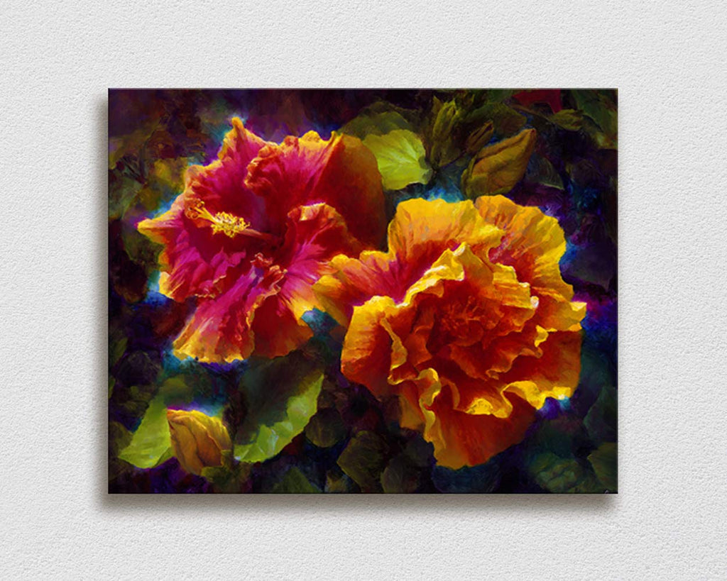 Hawaiian Hibiscus Painting Wall Art Canvas Print by Karen Whitworth titled Sunlit Duet